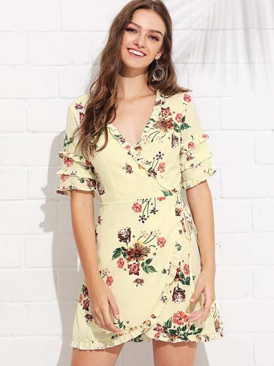 1e31ec55ff Knot Side Ruffle Trim Floral Dress