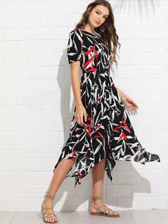 Abstract Print Button Through Dress