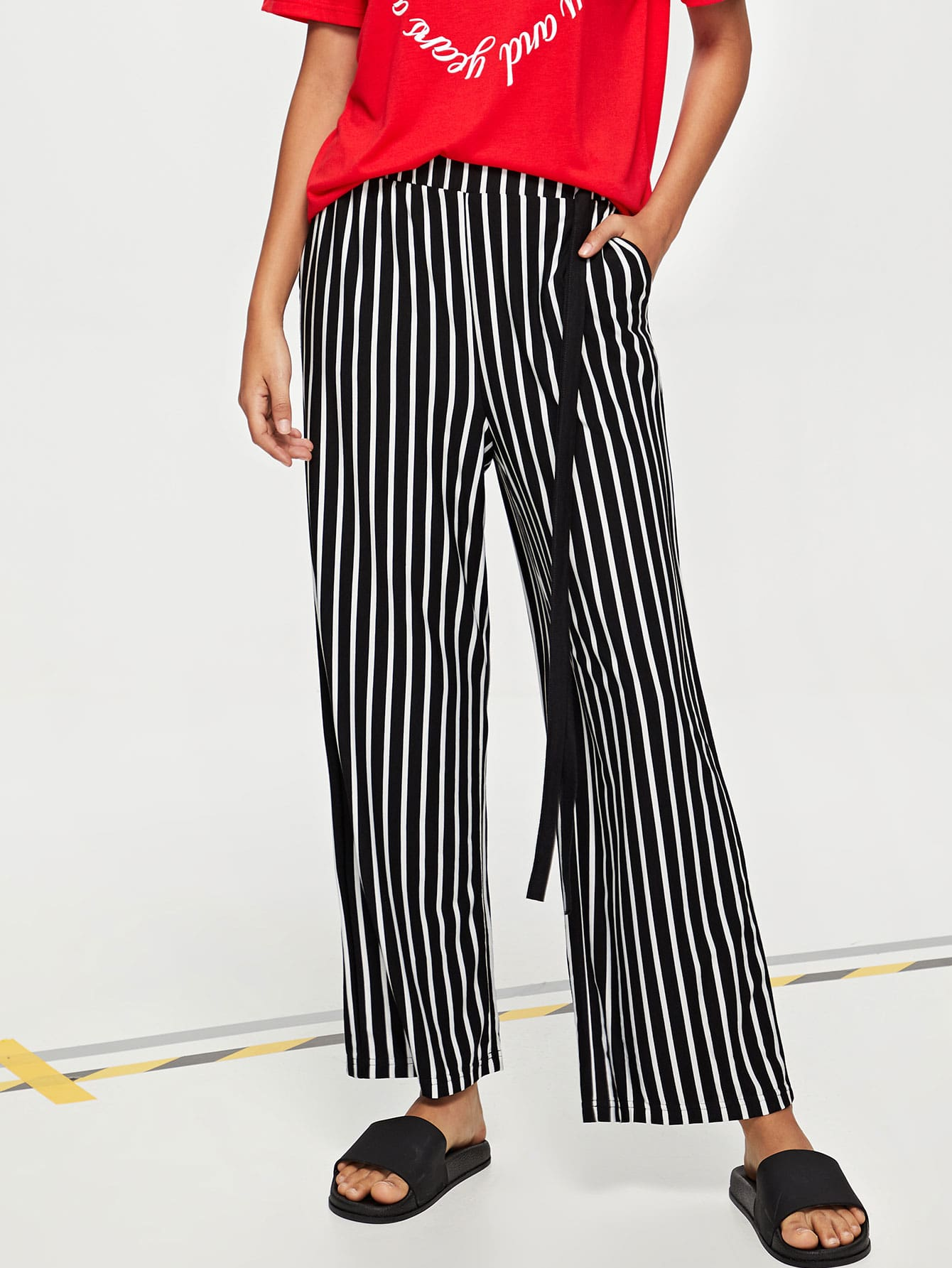 Фото Elastic Waist Striped Wide Leg Pants kids elastic waist striped pants