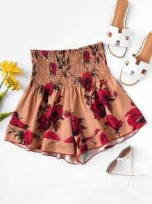 Shirred Drop Waist Wide Leg Shorts