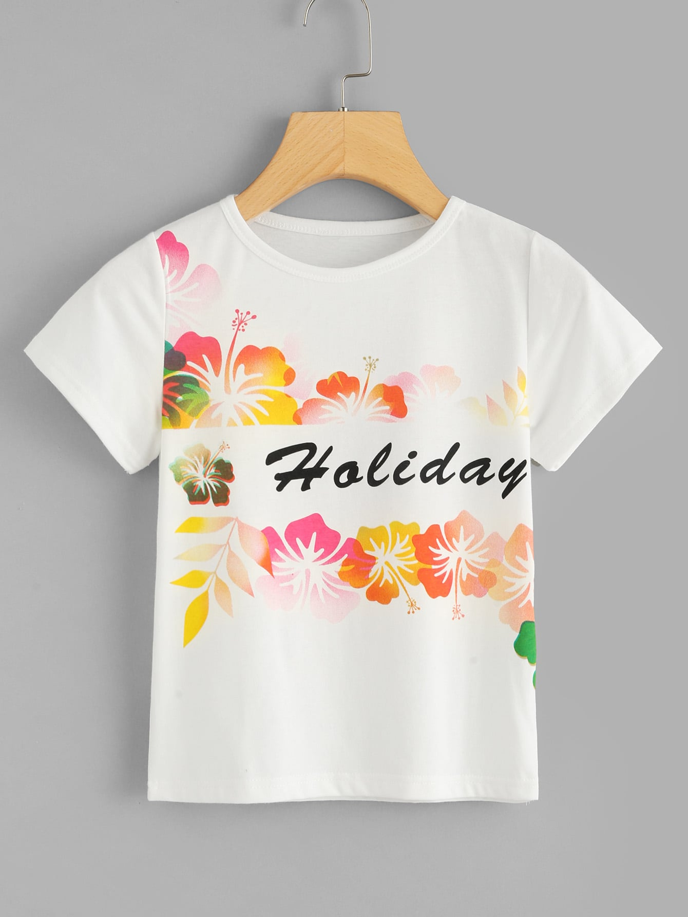 Girls Flower and Letter Print Tee бур bosch sds plus 5x 8x150x210 2608833790