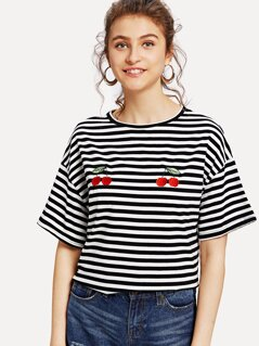 Cherry and Striped Print Tee