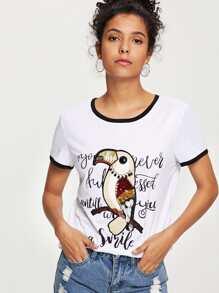 Bird Print Sequin Detail Ringer Tee