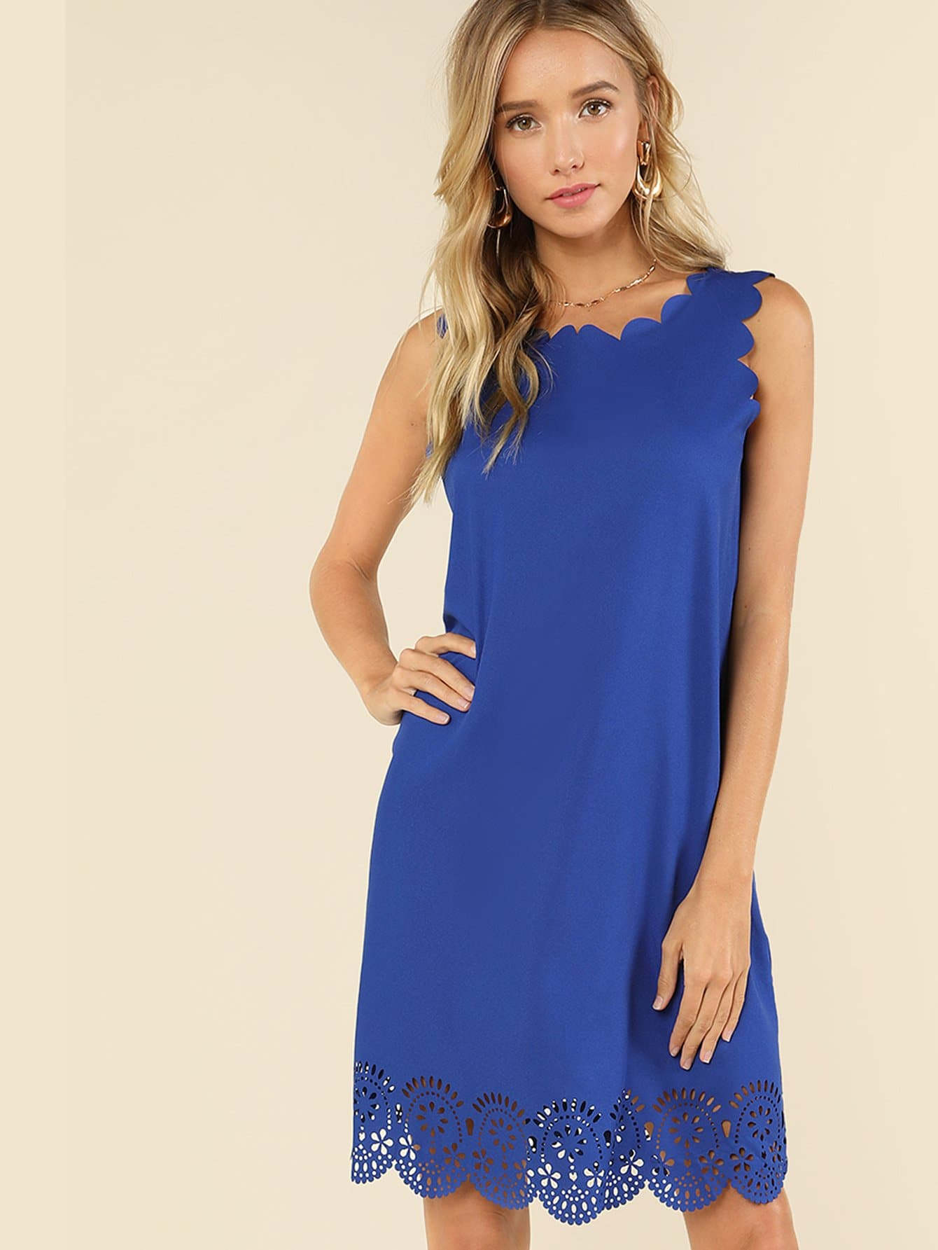 Laser Cut Insert Scalloped Edge Dress scalloped edge botanical print dress