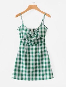Check Plaid Knotted Cami Dress