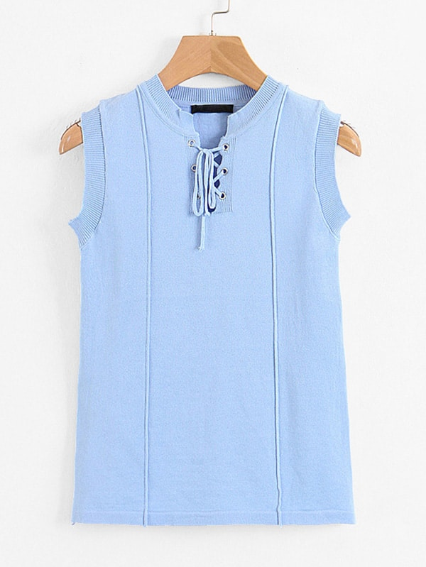 Lace-Up Ribbed Trim Knit Top