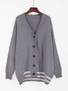 Striped Trim Drop Shoulder Cardigan