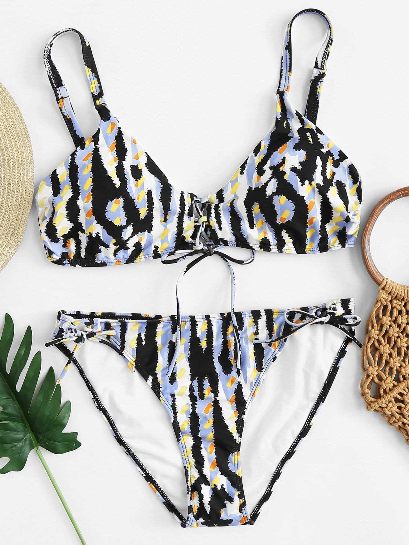 Lace-Up Bikini Set camo lace up studded bikini set