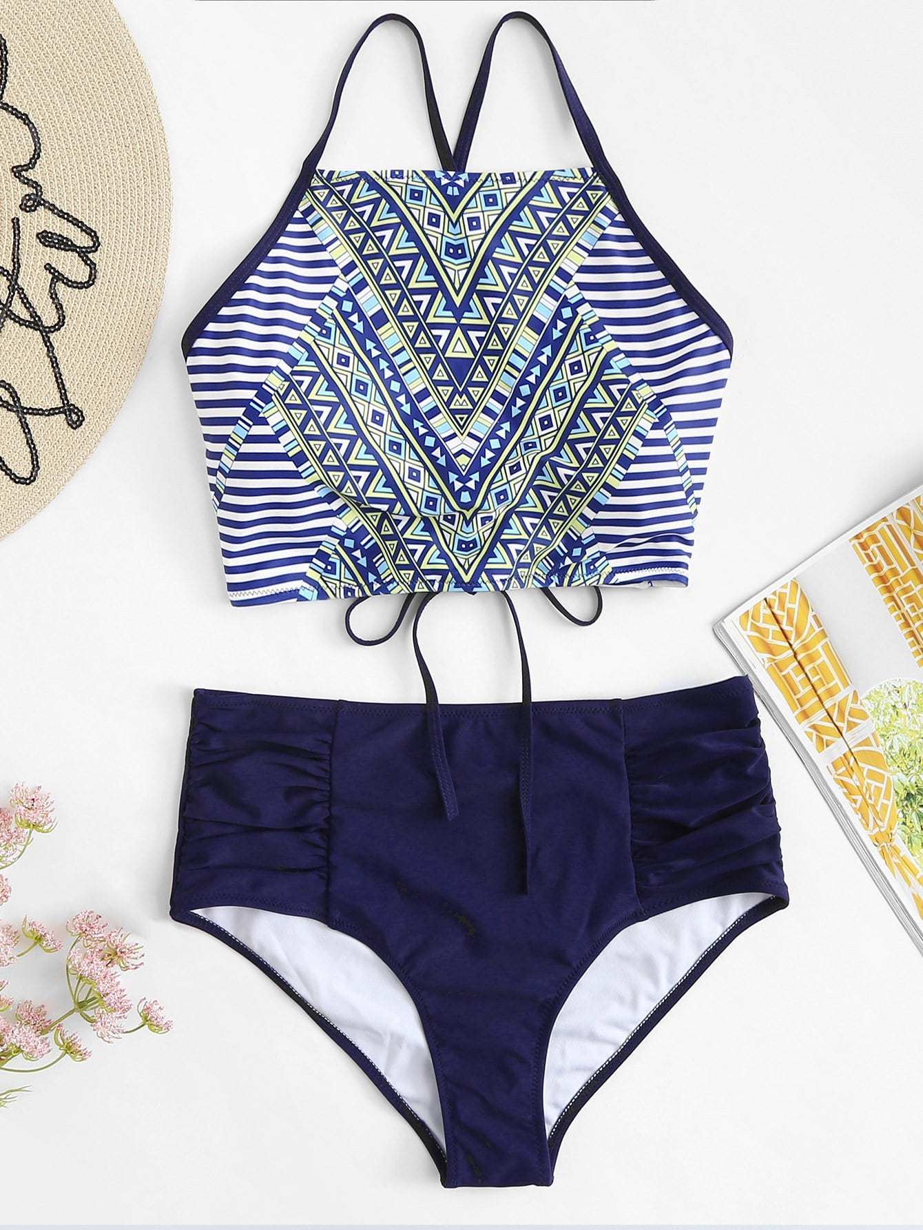 Plus Striped Lace-Up Bikini Set trendy letter print lace up striped women s bikini set