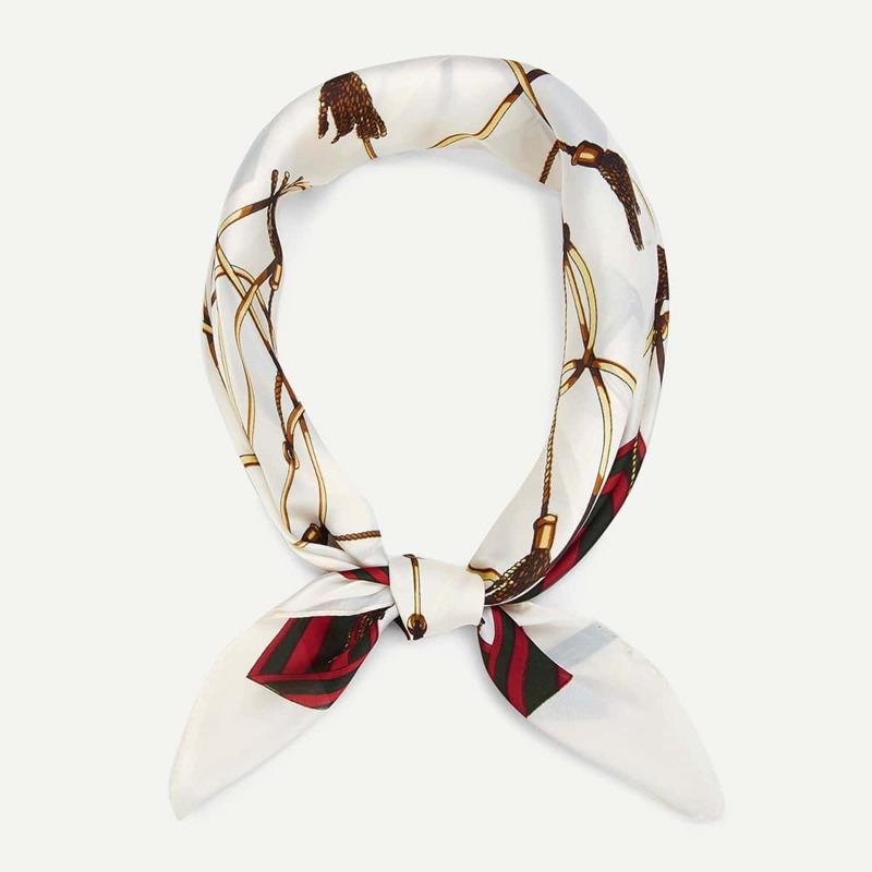 Chain & Tassel Print Bandana, Beige