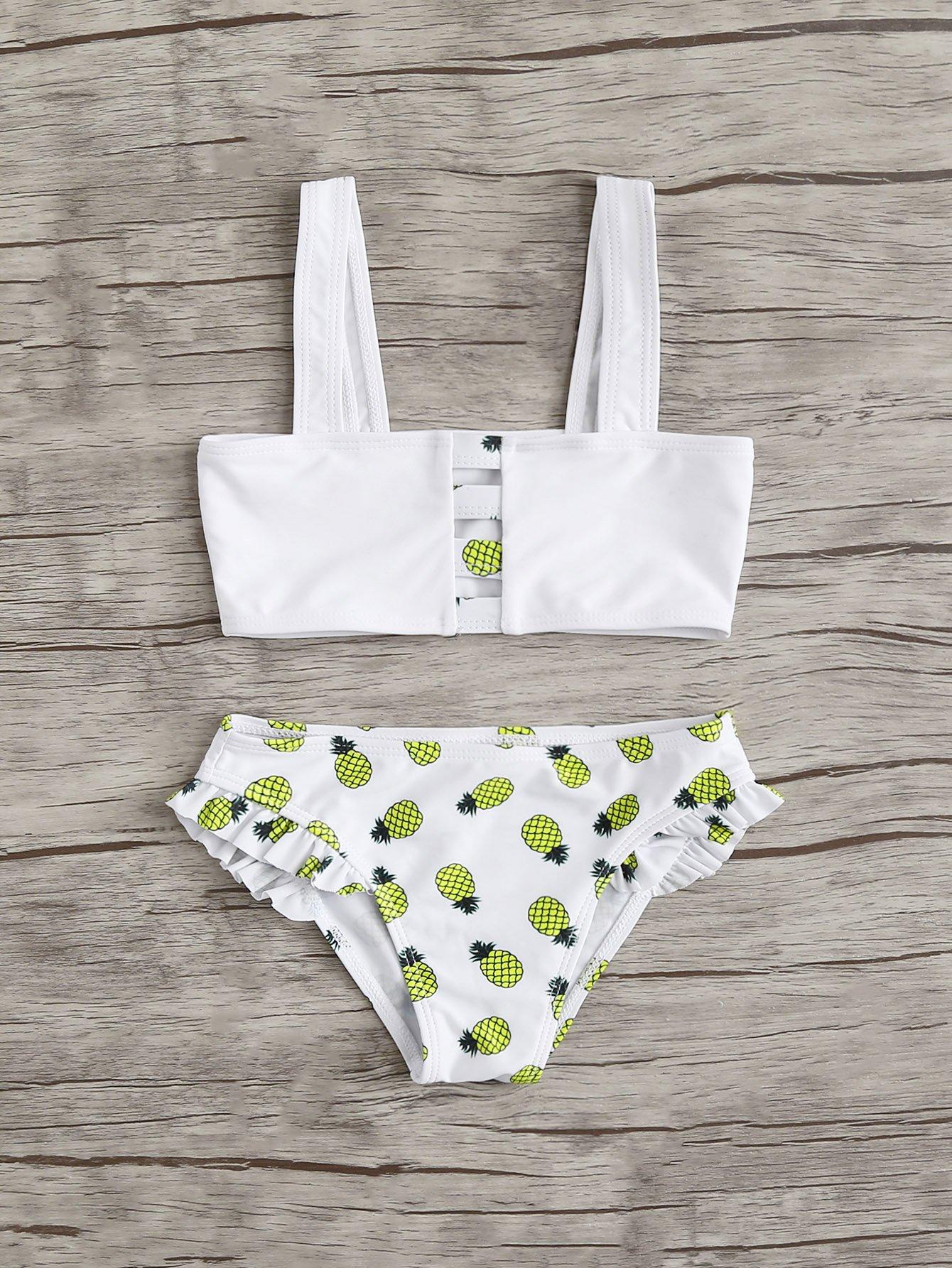 Girls Pineapple Print Bikini Set