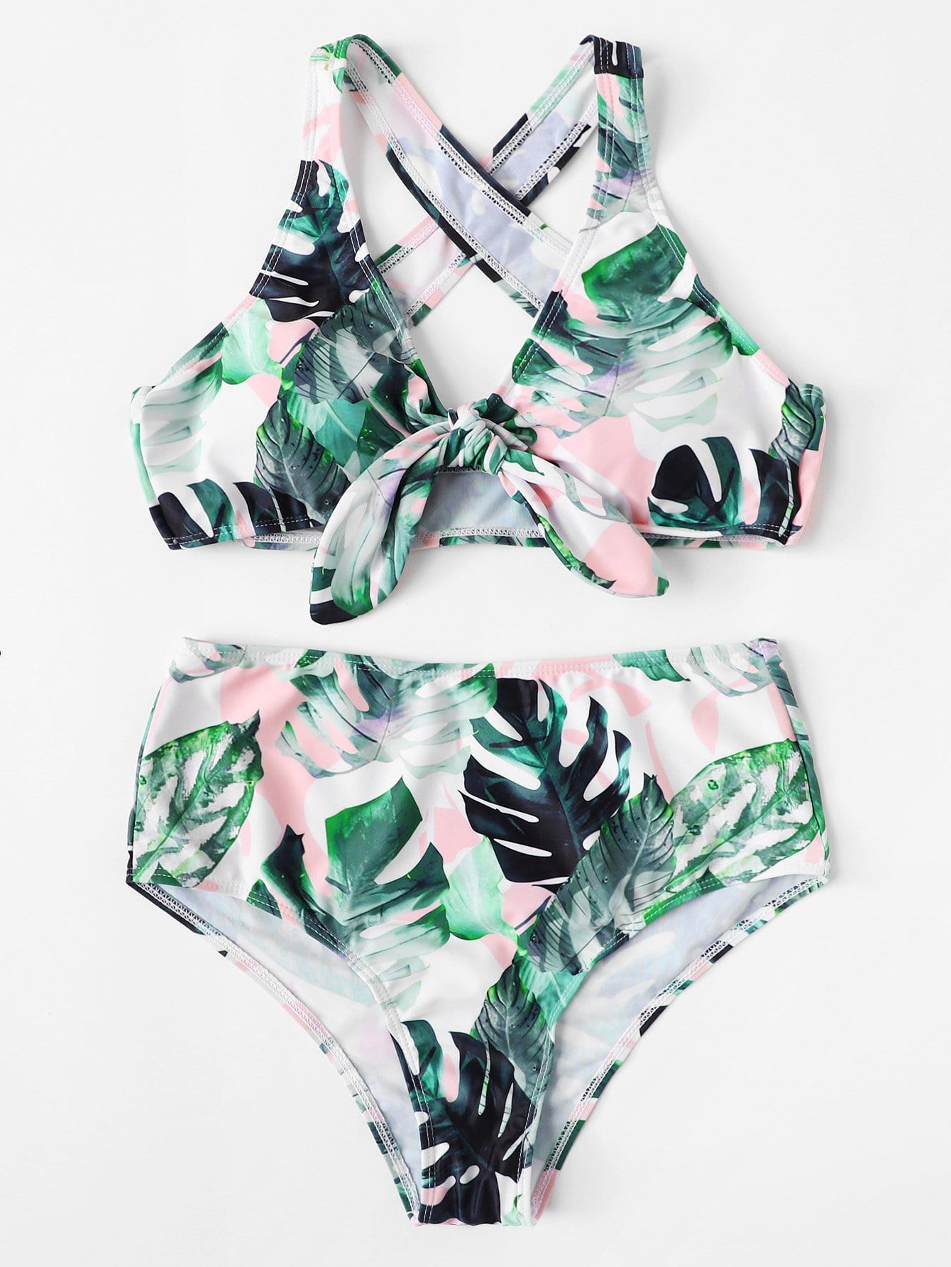 Girls Criss Cross Palm Print Bikini Set leaf print criss cross bikini set