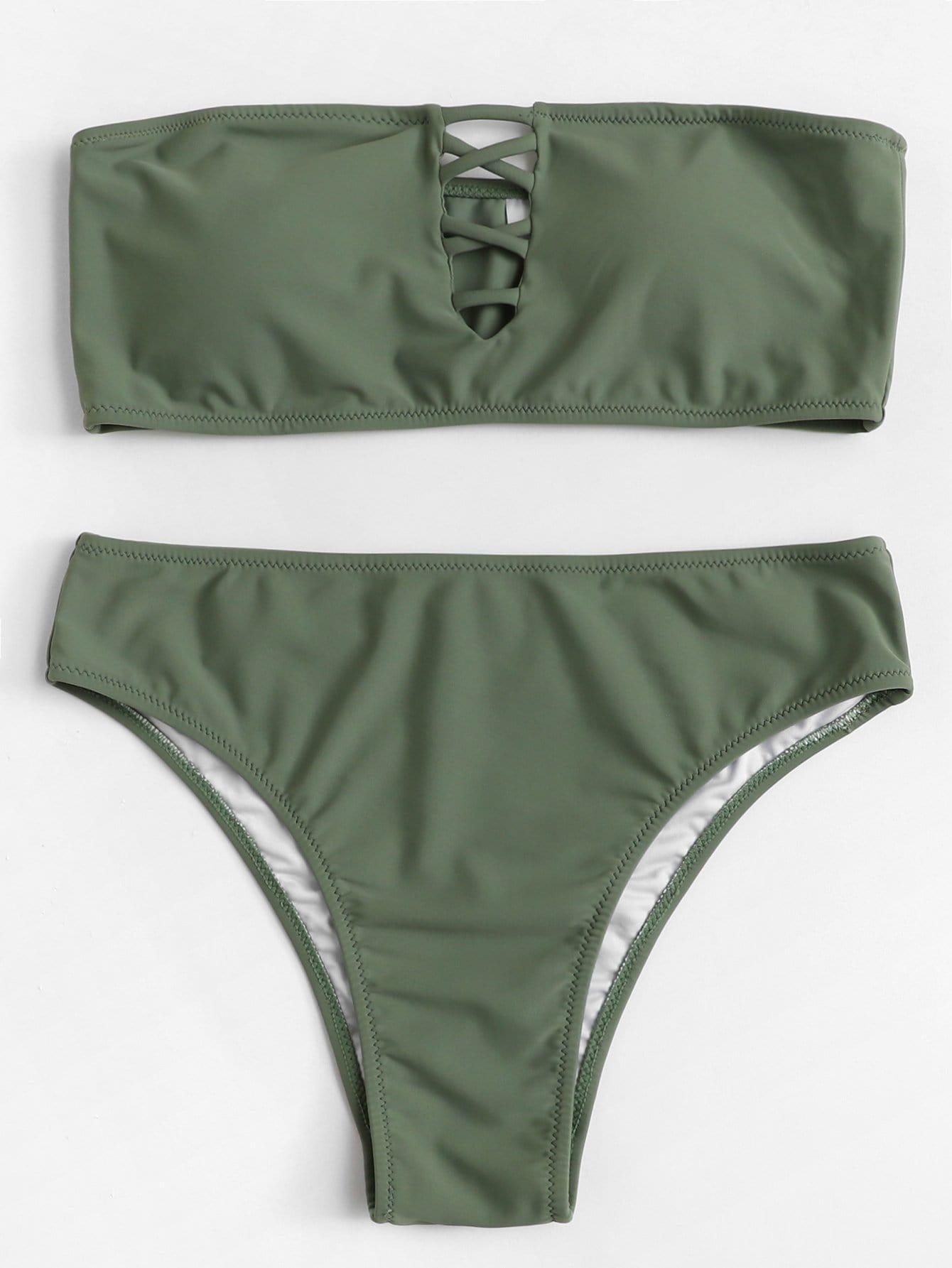 Criss Cross Bandeau Bikini Set criss cross lace bandeau tube top