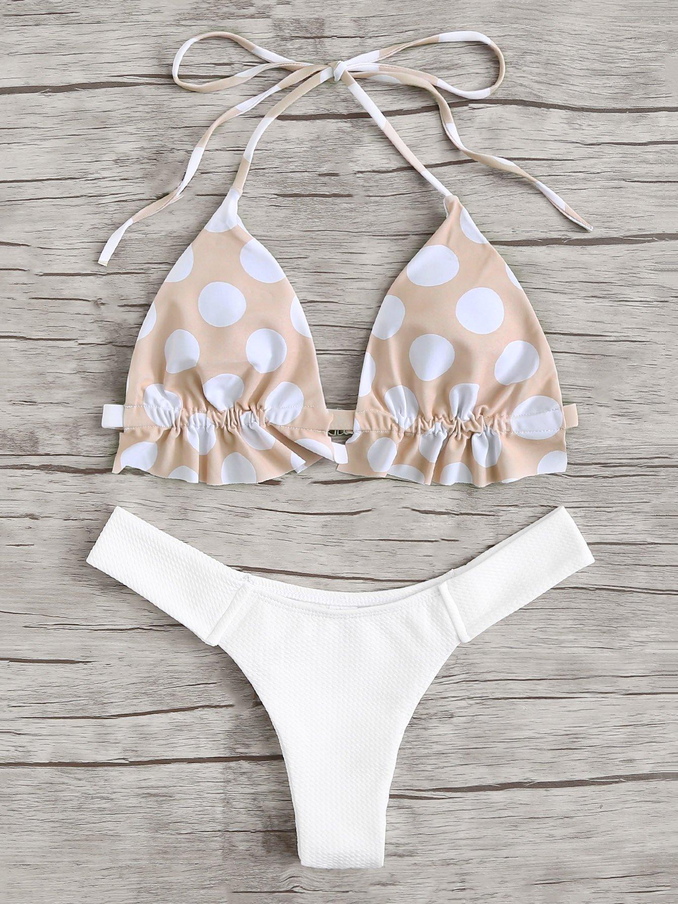 Фото Polka Dot Bikini Set checker knot bikini set