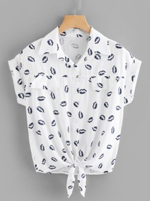 Knotted Hem Cuffed Lip Print Shirt