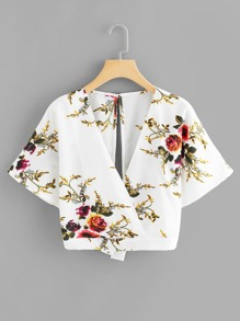 Floral Print Split Back Knot Blouse