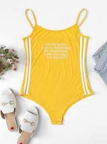 Slogan Print Striped Tape Side Bodysuit