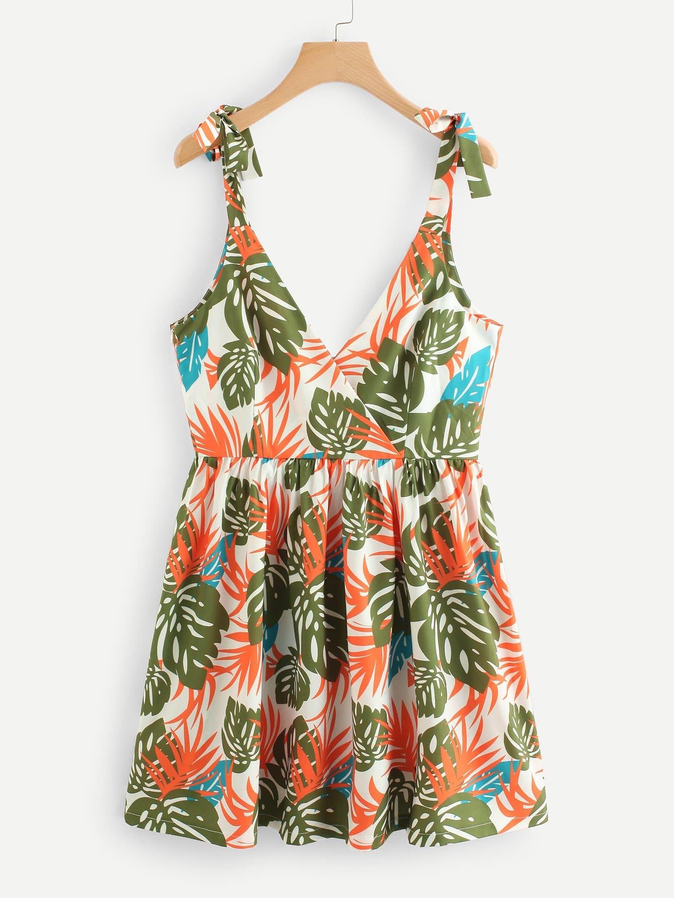 Tie Shoulder Leaf Print Dress