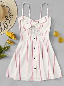 Striped Tie Front Cami Dress