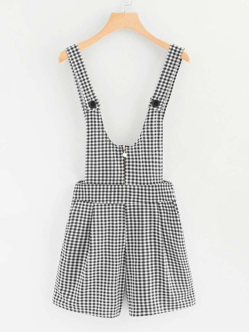 Pearl Detail Zip Front Plaid Pinafore Jumpsuit by Romwe