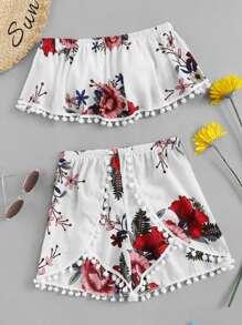 Floral Print Pom Pom Trim Crop Top With Shorts