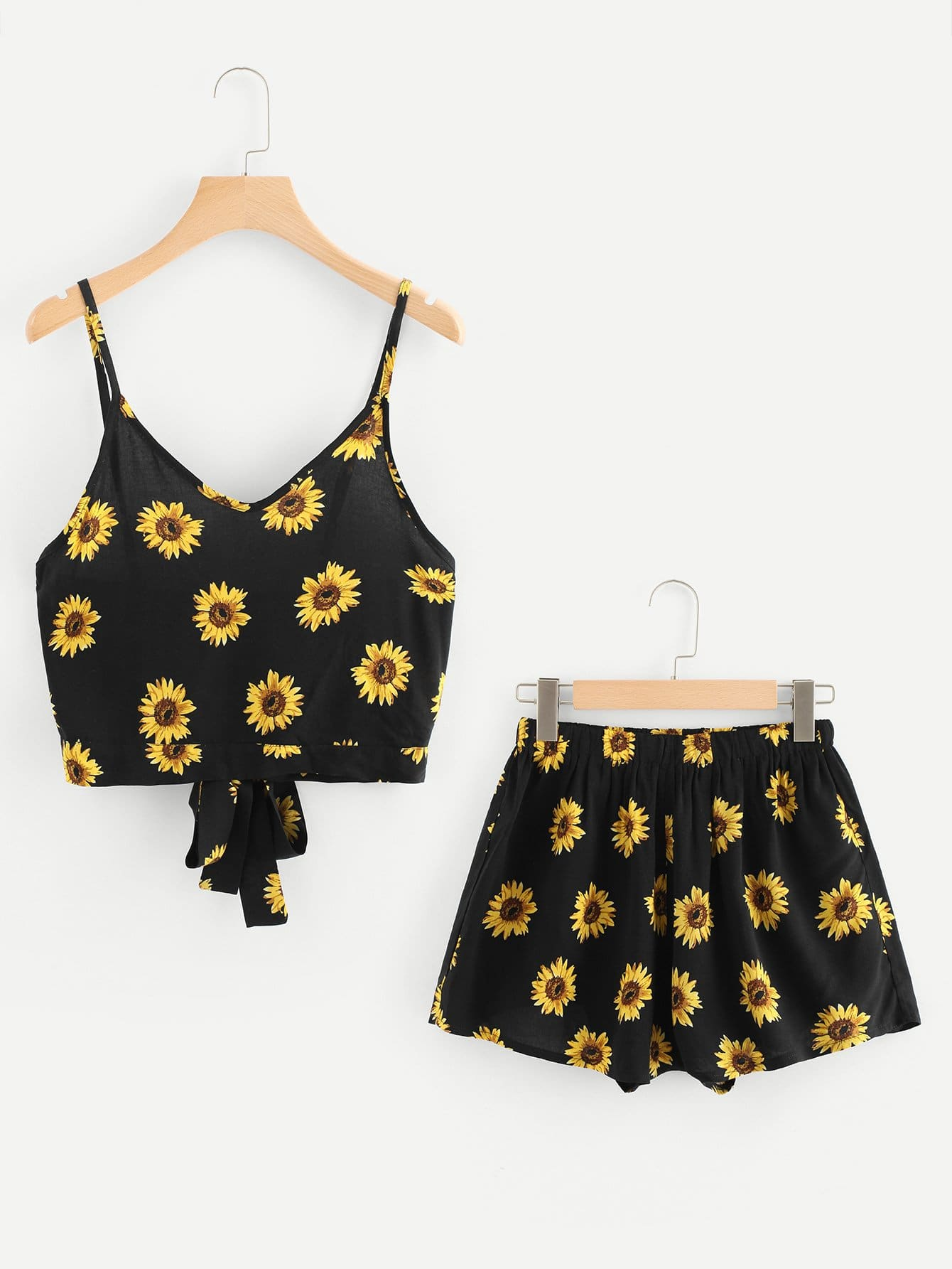 Tie Back Sunflower Print Cami Top With Shorts random sunflower print crisscross back a line cami dress