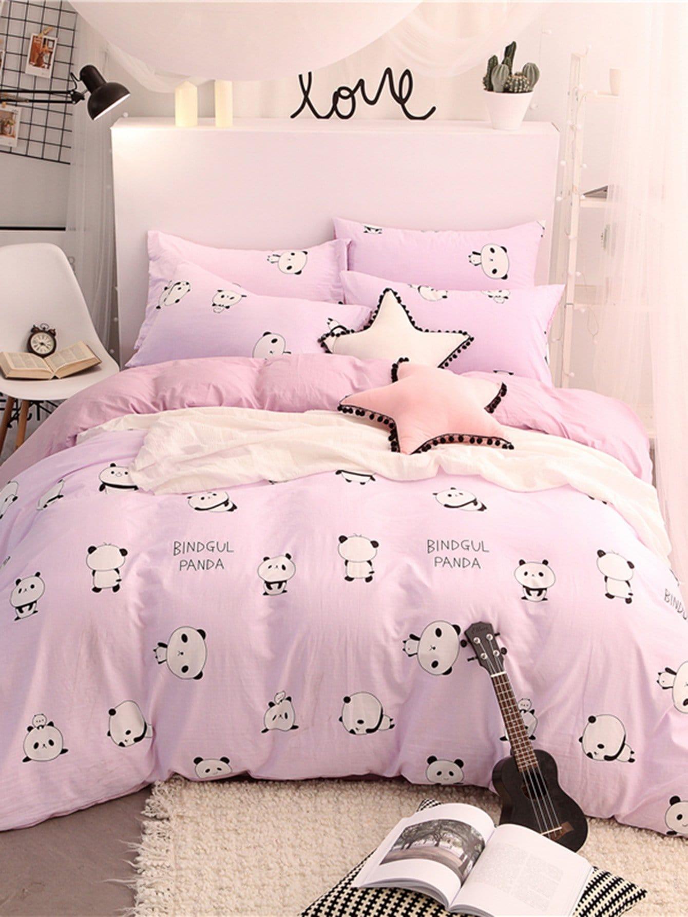 Купить Комплект постельного белья надпись и панда, null, SheIn