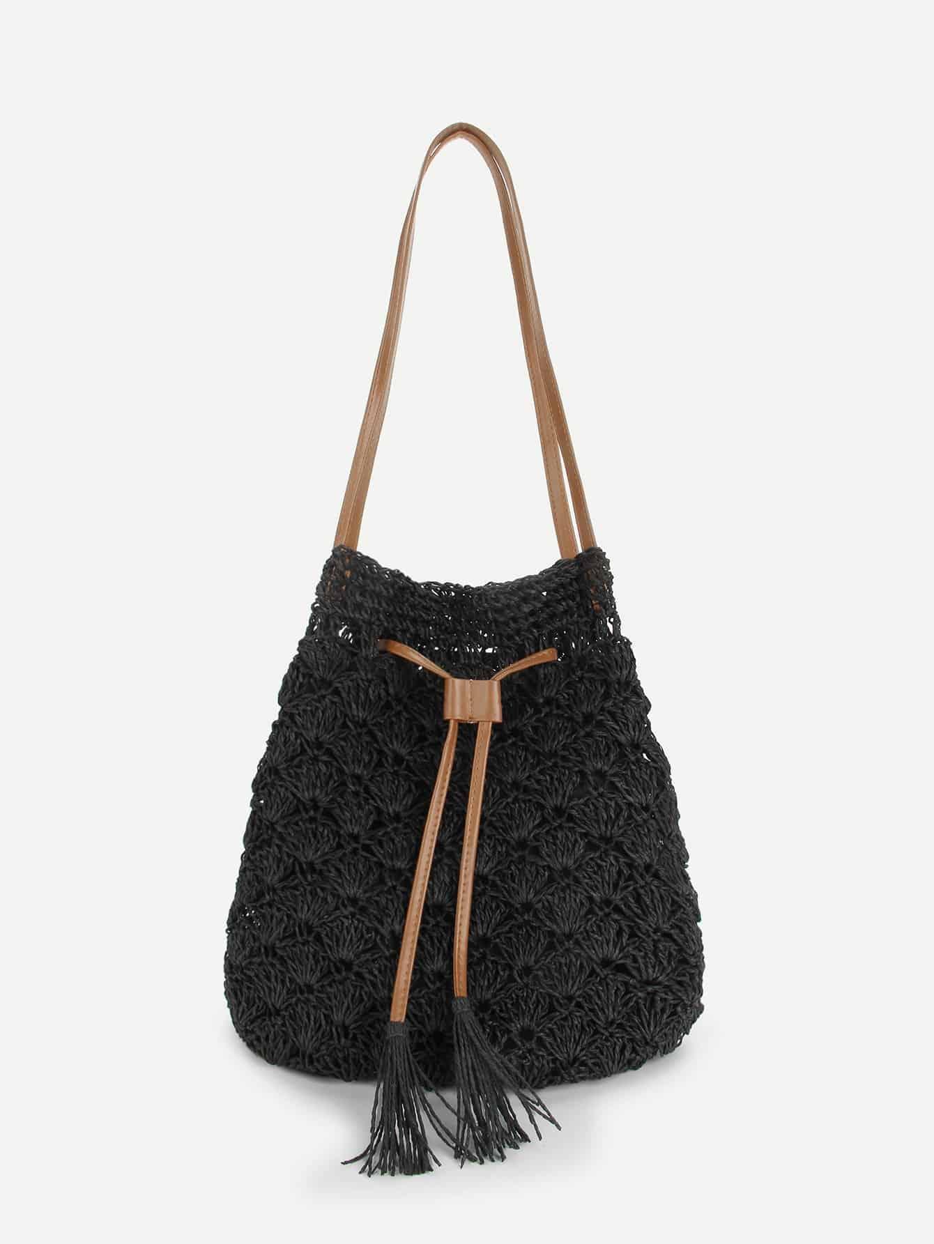 Tassel Drawstring Tote Bag
