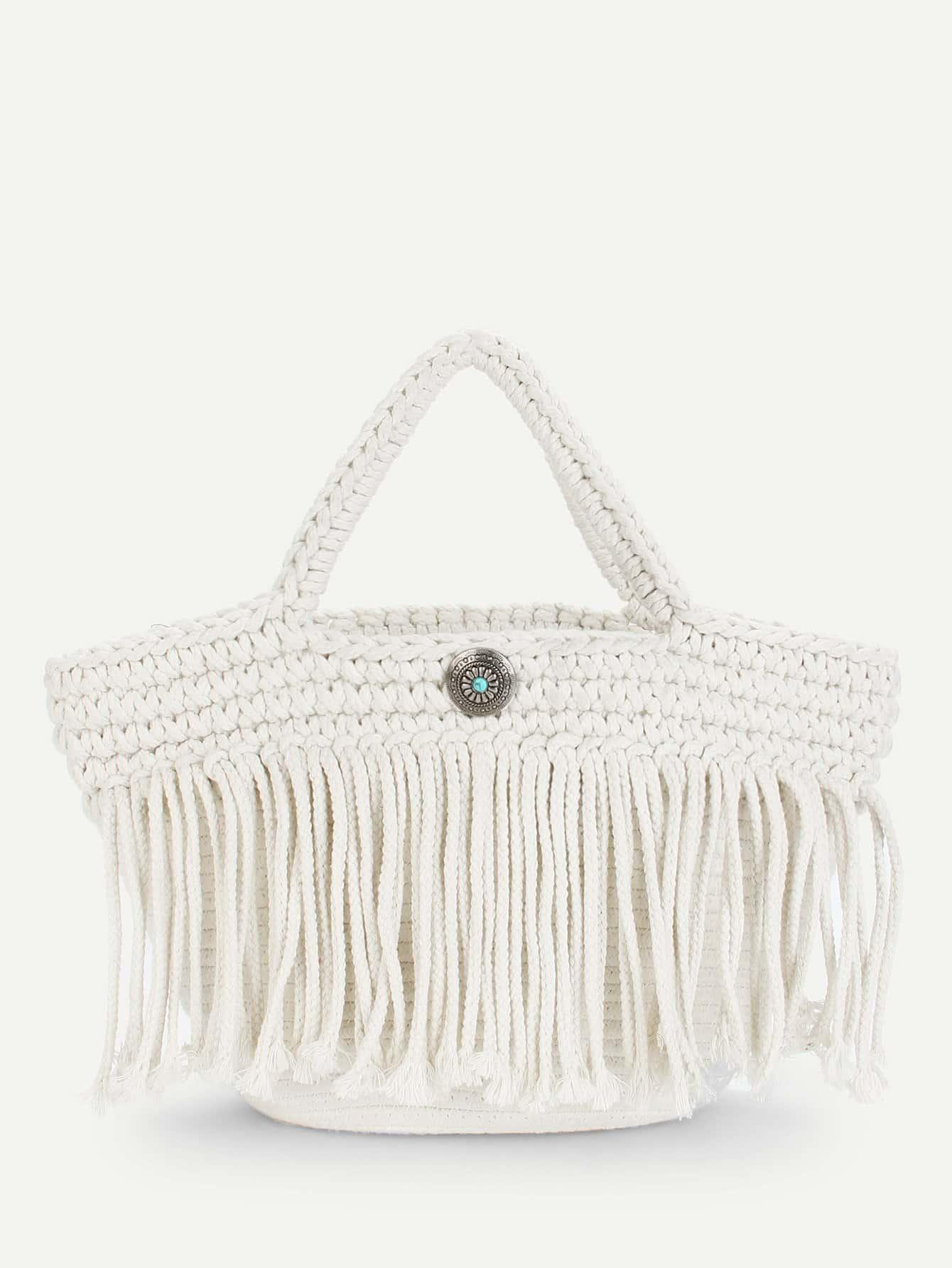 Fringe Tassel Design Woven Tote Bag