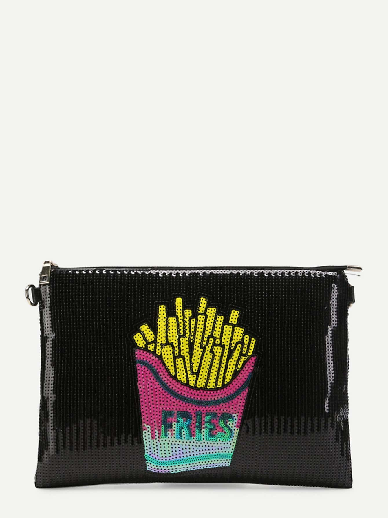 Sequin French Fries Pattern Clutch Bag пуф french fries
