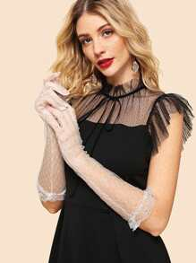 Elbow Length Lace Trim Gloves