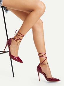 Tie Leg Pointed Toe Stiletto Heels