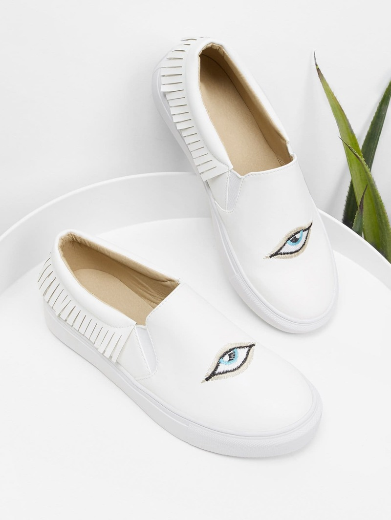 Eye Embroidery Slip On Sneakers, White