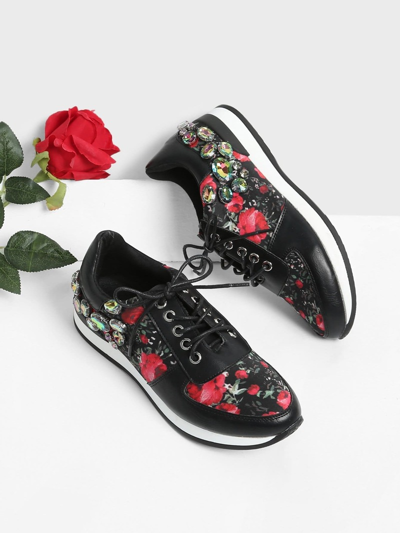 Rhinestone Flower Print Lace Up Sneakers, Multicolor