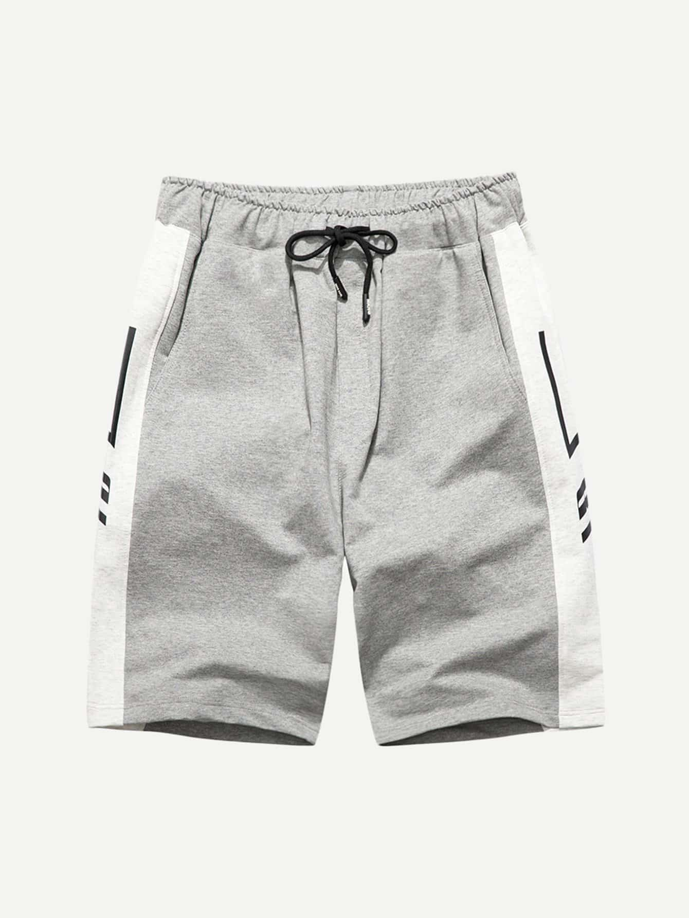 Men Tape Detail Drawstring Shorts