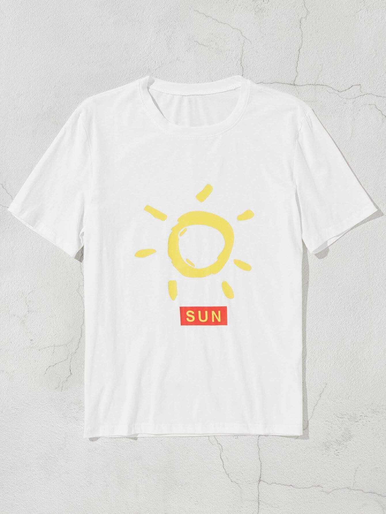 Men Sun And Letter Print Tee sun print tee