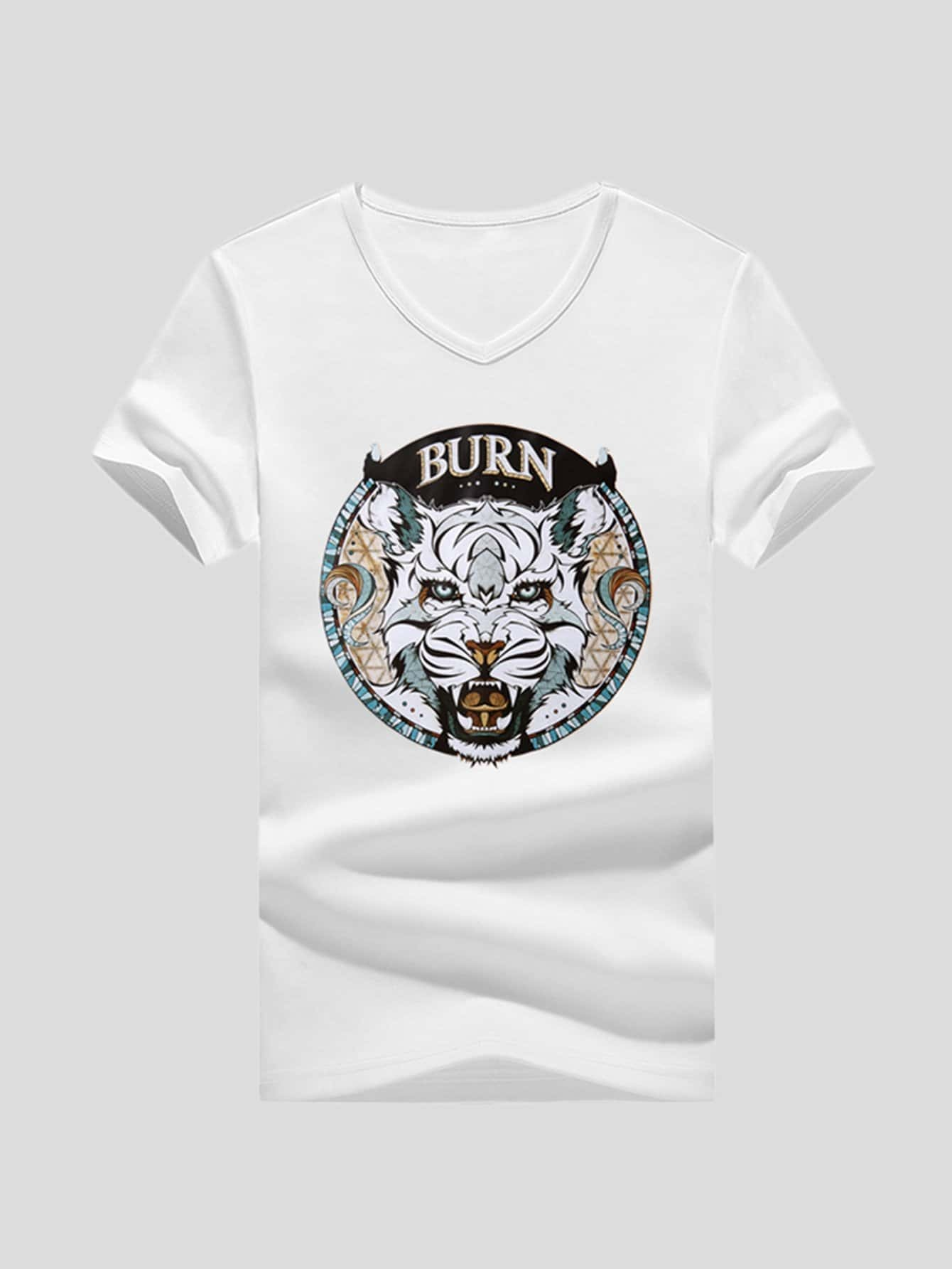 Men Letter And Animal Print Tee