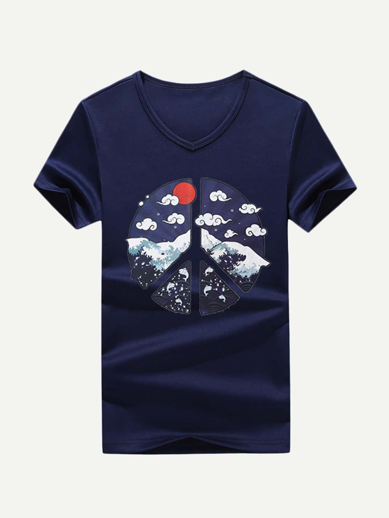 Men Cloud Print Tee men cloud print tee