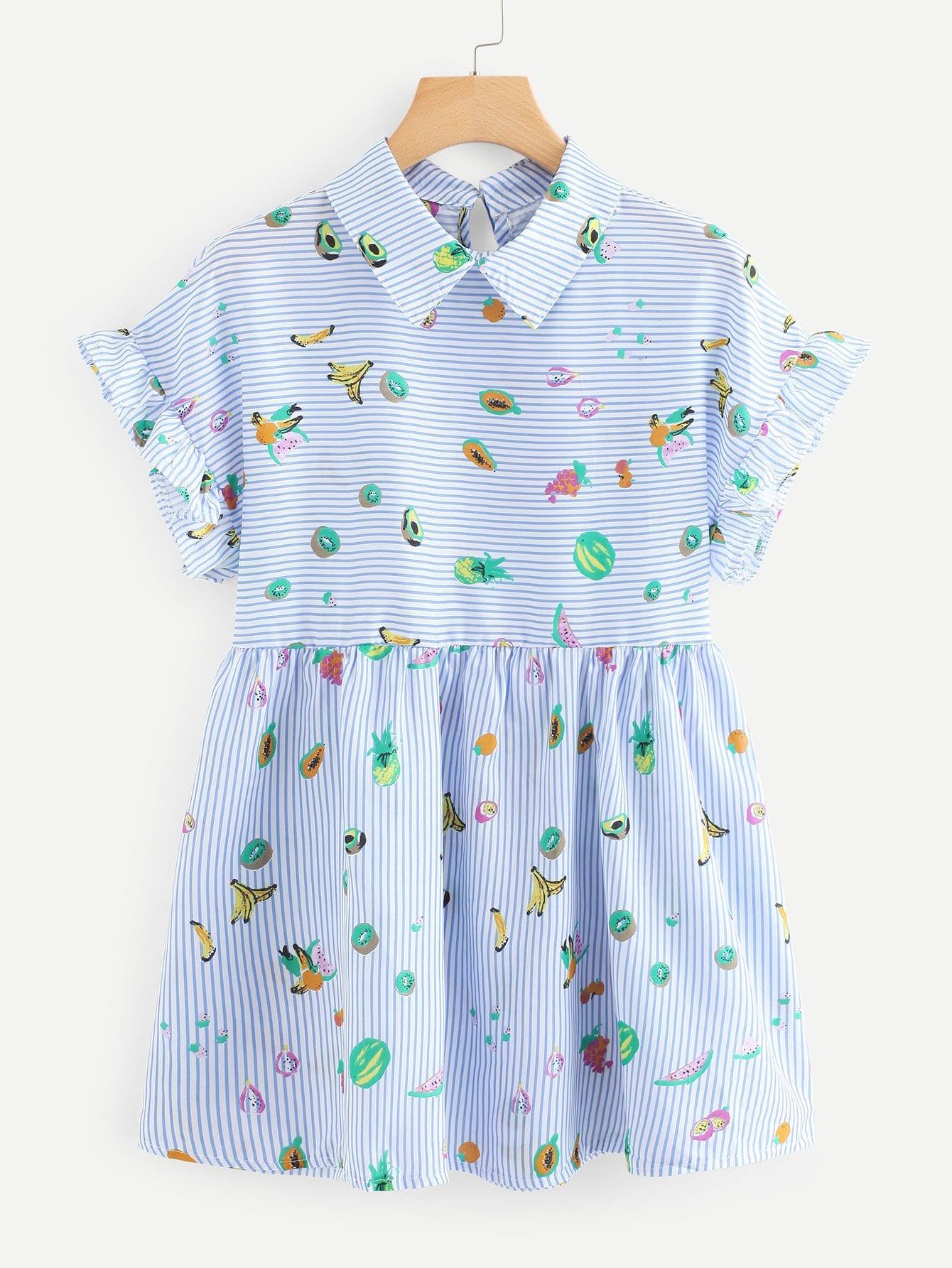Fruit Print Frill Trim Dress