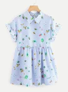 Fruit Print Frill Trim Dress