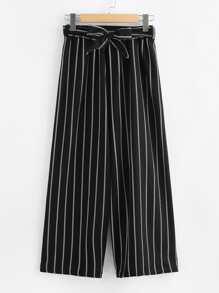 Belted Vertical Striped Wide Leg Pants