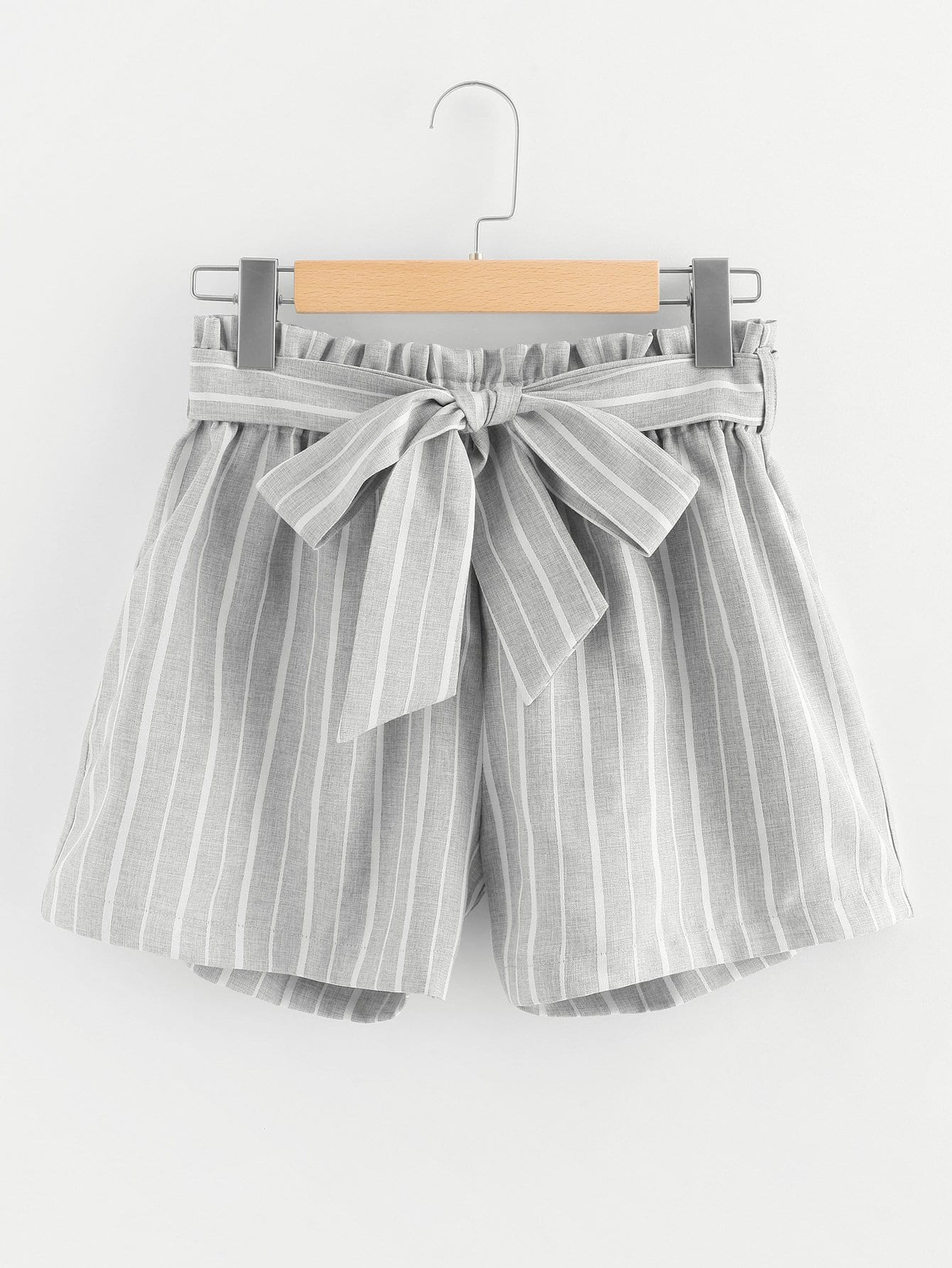 Knot Front Striped Shorts