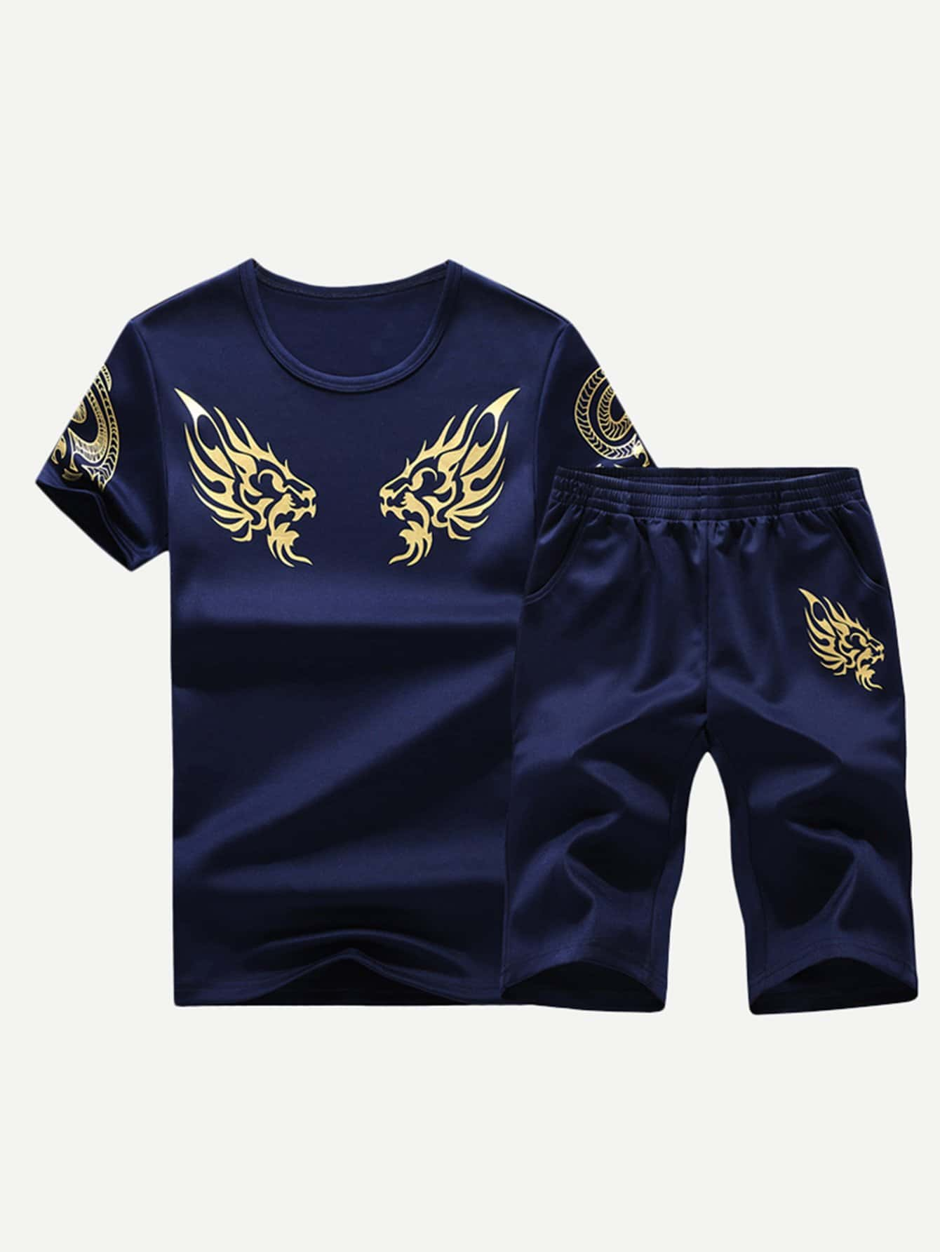 Men Golden Floral Print Tee With Shorts men floral print ombre tee