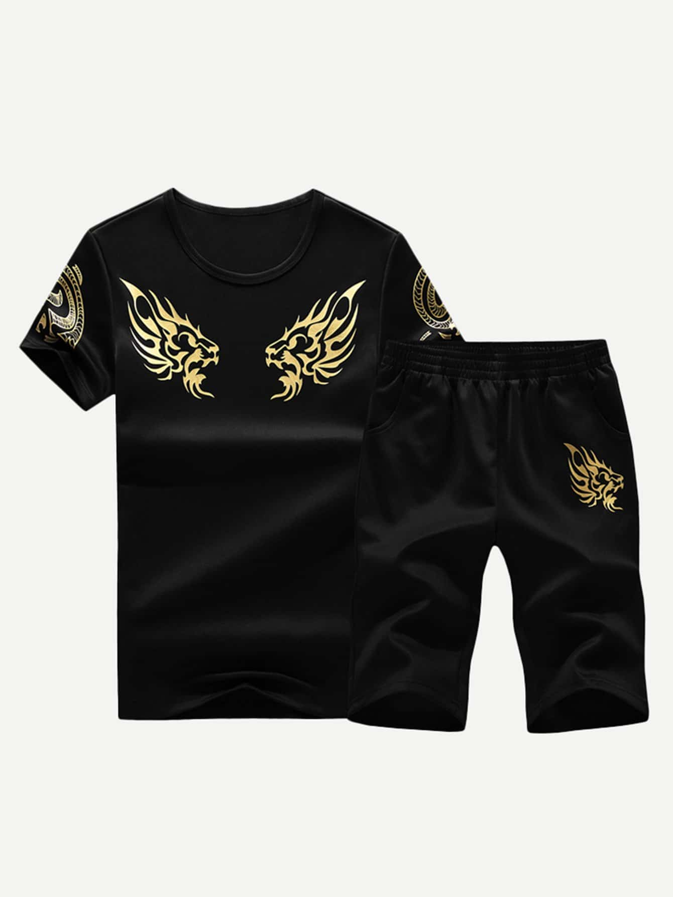 Men Golden Floral Print Tee With Shorts