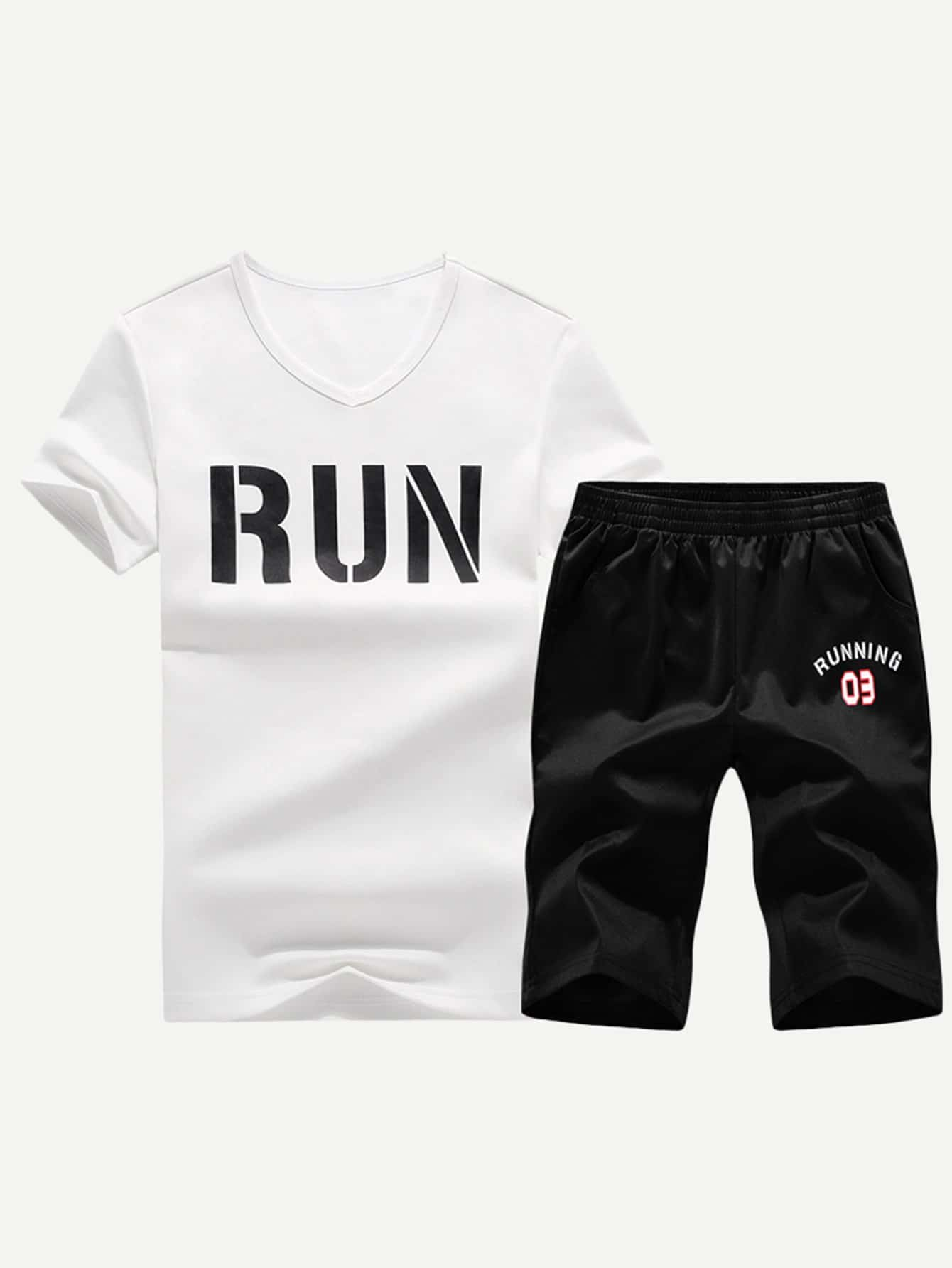 Men Letter Print Tee With Shorts letter print hooded tee with shorts