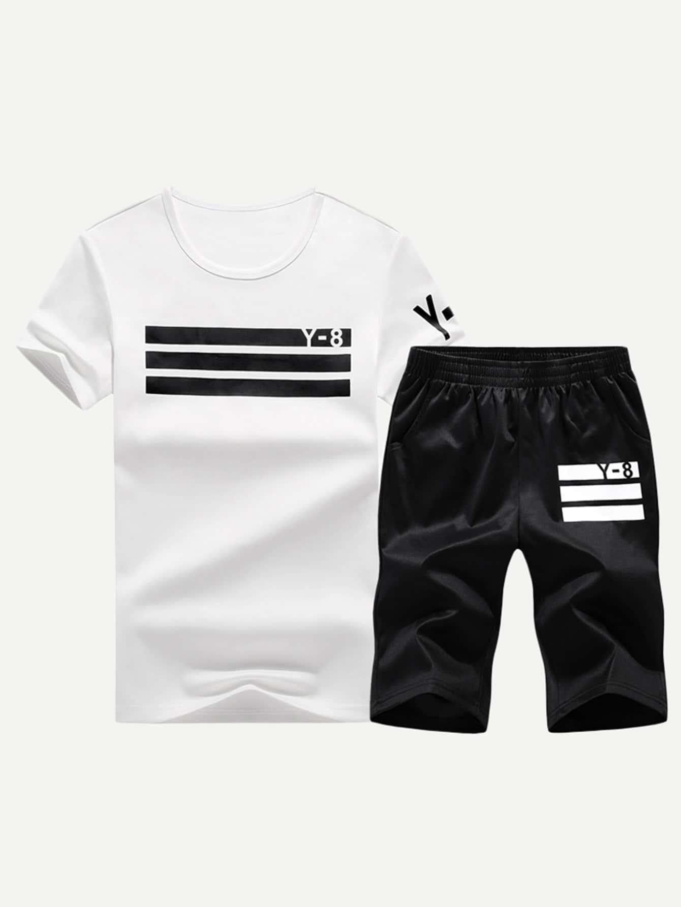 Men Varsity Striped Tee With Shorts varsity striped tee