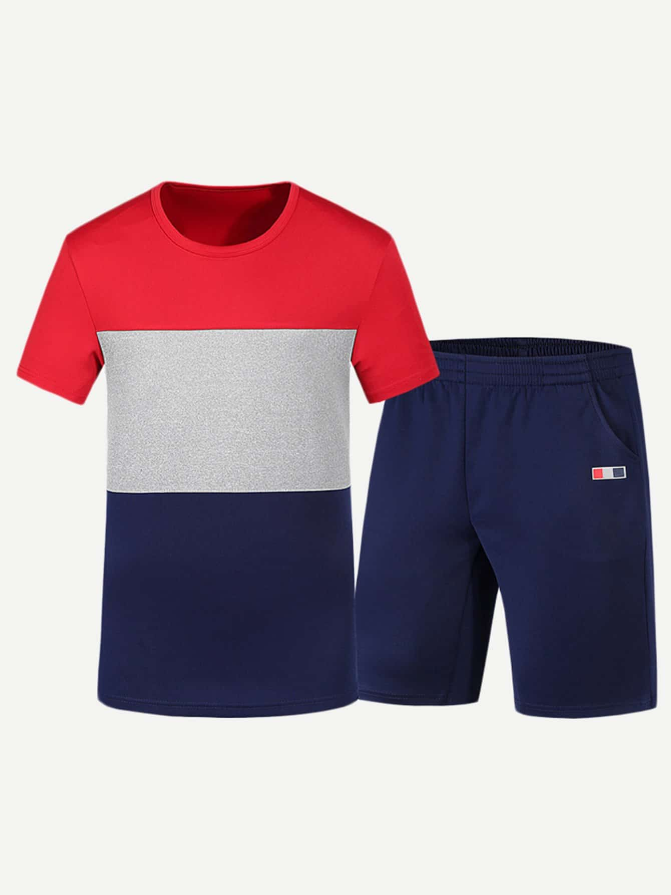 Men Contrast Panel Tee With Shorts