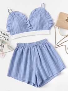 Frill Trim Cami Top With Shorts ROMWE