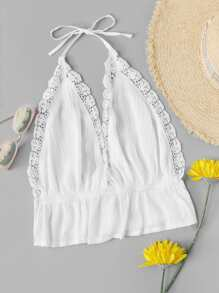 Lace Panel Halter Top