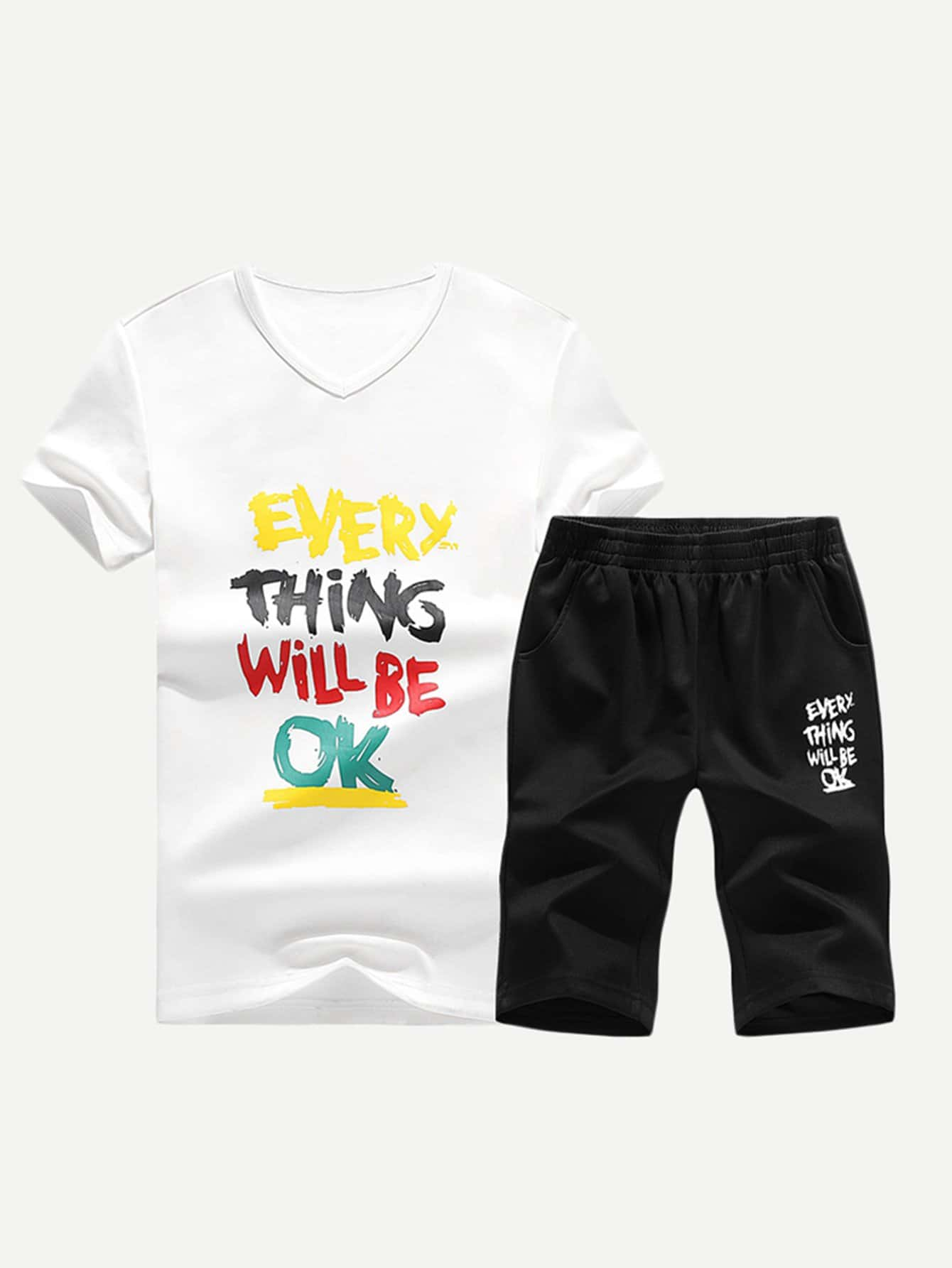 Men Colorful Letter Print Tee With Shorts dinosaur print tee with shorts